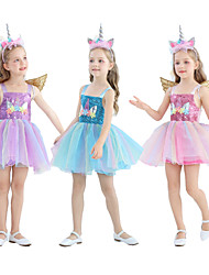 cheap -Unicorn Dress Girls' Movie Cosplay Cosplay Costume Party Purple / Pink / Blue Dress Tulle Sequin Polyster