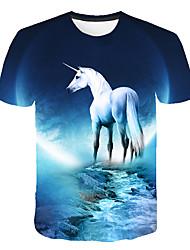 cheap -Kids Girls' Basic Street chic Horse Color Block 3D Animal Print Short Sleeve Tee Light Blue