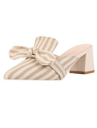 cheap -Women's Clogs & Mules Chunky Heel Pointed Toe Bowknot Polyester Casual Spring & Summer Black / Almond / Striped