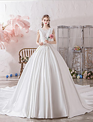 cheap -Ball Gown Scoop Neck Watteau Train Polyester / Lace / Tulle Short Sleeve Sexy Wedding Dresses with Lace / Beading 2020
