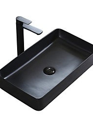 cheap -Nordic Minimalist Black Square Ceramic Countertop Washbasin Art Basin Single Basin Without Faucet Hotel Home Creative Sink
