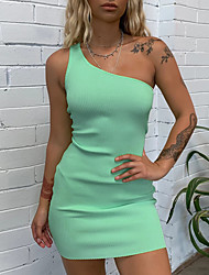 cheap -Women's Mini Blushing Pink Green Dress Bodycon Solid Color One Shoulder S M Slim