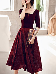 cheap -A-Line Glittering Red Homecoming Cocktail Party Dress Scoop Neck Half Sleeve Tea Length Velvet with Sequin 2020