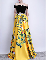 cheap -A-Line Chinese Style Gold Prom Formal Evening Dress Off Shoulder Sleeveless Sweep / Brush Train Polyester with Sash / Ribbon Pattern / Print 2020