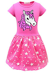 cheap -Kids Little Girls' Dress Cartoon Purple Blushing Pink Fuchsia Dresses