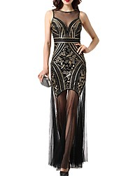 cheap -Sheath / Column Roaring 20s Gatsby Engagement Formal Evening Dress Jewel Neck Sleeveless Floor Length Polyester with Sequin 2020