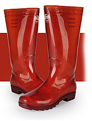 cheap -Men's PVC Spring & Summer Boots Waterproof Knee High Boots Black / Red / Burgundy