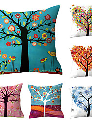 cheap -Set of 6 Polyester Pillow Cover, Flamingo Floral Print Simple Vintage Square Traditional Classic Throw Pillow