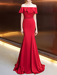 cheap -Mermaid / Trumpet Sexy Red Engagement Formal Evening Dress Off Shoulder Short Sleeve Sweep / Brush Train Tulle with Pleats Ruffles 2020