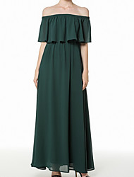 cheap -A-Line Off Shoulder Ankle Length Chiffon Bridesmaid Dress with Tier