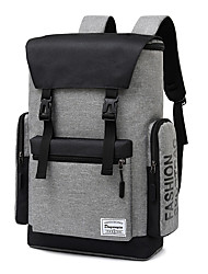 cheap -Men's Polyester Special Material School Bag Rucksack Commuter Backpack Large Capacity Buttons Zipper Solid Color Sports & Outdoor Daily Backpack Black Gray