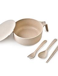 cheap -wheat fabric material Casual Plastic 4pcs Flatware set kitchen portable travel set