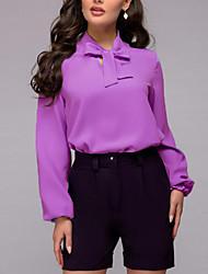 Недорогие -Жен. Однотонный Бант Пэчворк Рубашка Элегантный стиль Уличный стиль Повседневные На выход Лиловый / Розовый