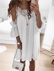 cheap -Women's Shift Dress - Solid Color White Blushing Pink S M L XL