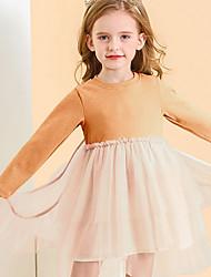 Недорогие -Дети (1-4 лет) Девочки Контрастных цветов Платье Белый