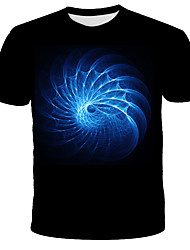 cheap -Men's Daily Holiday Street chic / Exaggerated T-shirt - 3D / Tie Dye Print Black