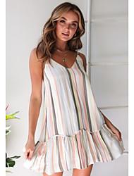 cheap -Women's White Dress A Line Striped Strap S M