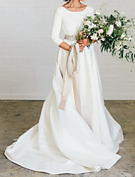 cheap -A-Line Jewel Neck Sweep / Brush Train Polyester 3/4 Length Sleeve Formal Plus Size / Elegant Wedding Dresses with Draping 2020