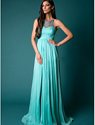 cheap -A-Line Illusion Neck Sweep / Brush Train Chiffon Empire / Blue Prom / Formal Evening Dress with Pleats / Split 2020