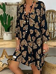 cheap -Women's Black Dress Shift Geometric Deep V S M Loose