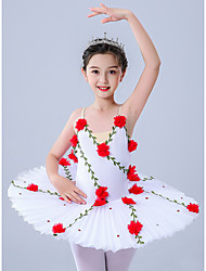 cheap -Kids' Dancewear / Gymnastics / Ballet Leotards / Tutus & Skirts Girls' Performance / Theme Party Polyester / Tulle Pleats / Embroidery / Crystals / Rhinestones Sleeveless Leotard / Onesie