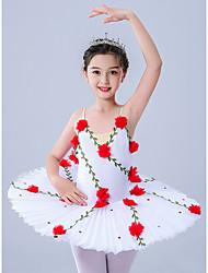 cheap -Kids' Dancewear / Gymnastics / Ballet Leotards / Tutus & Skirts Girls' Performance / Theme Party Polyester / Tulle Pleats / Embroidery / Crystals / Rhinestones Sleeveless Leotard / Onesie