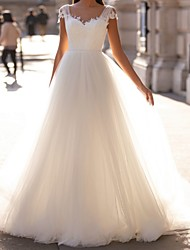 cheap -A-Line Wedding Dresses V Neck Sweep / Brush Train Tulle Cap Sleeve Simple with Appliques 2020