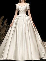 cheap -Ball Gown Wedding Dresses V Neck Watteau Train Satin Short Sleeve Simple Elegant with 2021