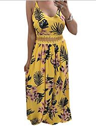 cheap -Women's Sheath Dress - Print Black White Yellow S M L XL