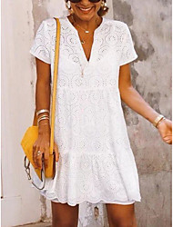 cheap -Women's White Dress Beach Loose Solid Color V Neck Lace Hollow S M Loose