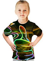 cheap -Kids Girls' Basic Street chic Color Block 3D Print Short Sleeve Tee Green