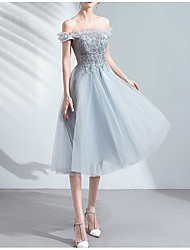 cheap -A-Line Off Shoulder Knee Length Tulle Bridesmaid Dress with Appliques