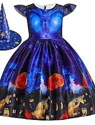 cheap -Witch Princess Dress Flower Girl Dress Girls' Movie Cosplay A-Line Slip Halloween Blue Dress Cap Halloween Children's Day Polyester / Cotton Blend Polyster / Cap Sleeve