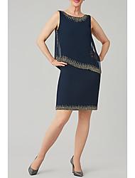 cheap -Sheath / Column Mother of the Bride Dress Elegant Jewel Neck Knee Length Chiffon Sleeveless with Beading Sequin 2021