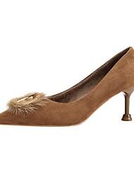 cheap -Women's Heels Stiletto Heel Pointed Toe Suede Spring & Summer Black / Brown / Almond