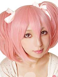 cheap -Puella Magi Madoka Magica Rem Cosplay Wigs Women's Bob 12 inch Heat Resistant Fiber Straight Pink Pink Anime
