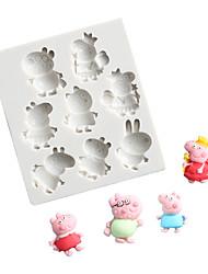 abordables -dibujos animados papá cerdo fondant pastel chocolate molde molde de silicona molde para hornear