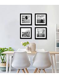 cheap -Framed Art Print Framed Set 4 - Black And Hite Beach Scenery PS Illustration Wall Art