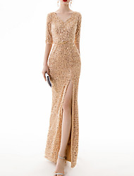 cheap -Sheath / Column Sexy Gold Party Wear Prom Dress V Neck Half Sleeve Floor Length Polyester with Sequin Split 2020