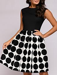 cheap -Women's A Line Dress - Polka Dot Black M L XL XXL