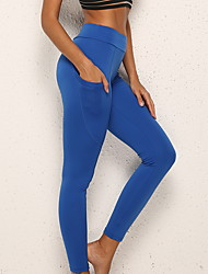 cheap -Women's Basic Legging - Solid Colored, Print Mid Waist Wine Blue Black S M L