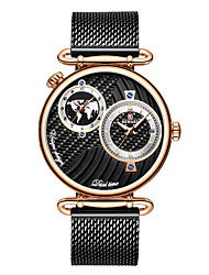 cheap -Men's Dress Watch Japanese Quartz Stainless Steel 30 m Water Resistant / Waterproof Dual Time Zones Day Date Analog Fashion Cool - Black+Gloden Gold Blue One Year Battery Life