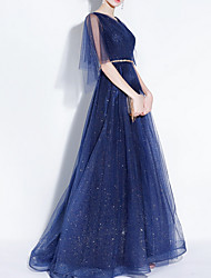 cheap -A-Line V Neck Floor Length Polyester Sparkle / Blue Prom / Formal Evening Dress with Sequin 2020