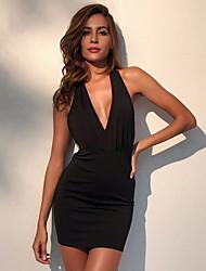 cheap -Women's Bodycon Dress - Solid Color Black Red S M L