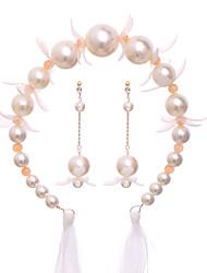 cheap -Women's Bridal Jewelry Sets Stylish Elegant Imitation Pearl Earrings Jewelry Beige For Wedding Party 1 set