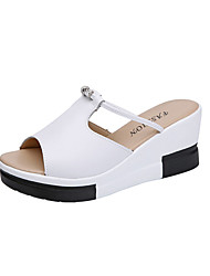 cheap -Women's Sandals Wedge Sandals Spring & Summer Wedge Heel Peep Toe Sweet Minimalism Daily Rhinestone Solid Colored Nappa Leather White / Black
