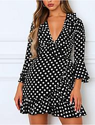 cheap -Women's Blushing Pink Black Dress Sheath Polka Dot V Neck S M