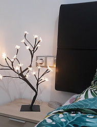 cheap -Christmas Cherry Blossom Tree Table Lamp Reading Light Bedside Decoration Adjustable USB Powered for Indoor Shops Cafes DC 5V