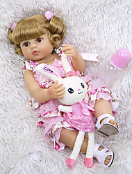 cheap -NPKCOLLECTION 22 inch Reborn Doll Baby Baby Girl Gift Hand Made Artificial Implantation Brown Eyes Full Body Silicone Silicone Silica Gel with Clothes and Accessories for Girls' Birthday and Festival