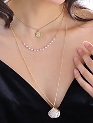 cheap -Women's Pendant Necklace Necklace Layered Necklace Stacking Stackable Shell Classic Vintage Trendy Fashion Imitation Pearl Chrome Shell Gold 60 cm Necklace Jewelry 1pc For Anniversary Street Birthday